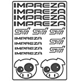 1 Sheet 30x20cm with 14 pcs Subaru Imperza STI die cut decals, stickers have no background. Available in 11 colors