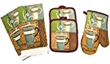 Coffee Themed Kitchen Decor Designer Value Pack 5 Piece Kitchen Linen Set Towels, Pot Holders & Oven Mit (Coffe)