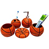 HEYFAIR Basketball 5 Piece Bathroom Accessories Set Toothbrush Holder Soap Dish Lotion Dispenser Tumbler Bath Ensemble