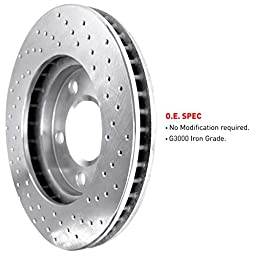 R1 Concepts KEX11711 Eline Series Cross-Drilled Rotors And Ceramic Pads Kit - Front