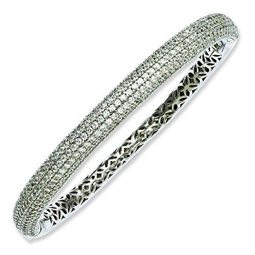 Argent Sterling Rhodium plaqué CZ Bracelet JewelryWeb