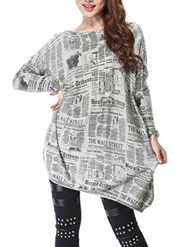 ELLAZHU periódico de las señoras vestido de jersey de punto impreso SZ44 Gris gris