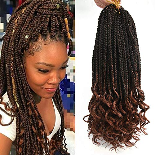 6Pcs/Pack Crochet Hair Black Box Braids Hair Ends Ombre Brown Kanekalon Loose Wave Synthetic 18 Inch Box Hair For Braid 22 Strands/pcs Braiding Hair Extensions (Black&Brown(1B/30))