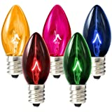 C7 - Transparent Multi-Color - Triple Dipped - 5 Watt - Candelabra Base - Christmas Lights - 25 Pack