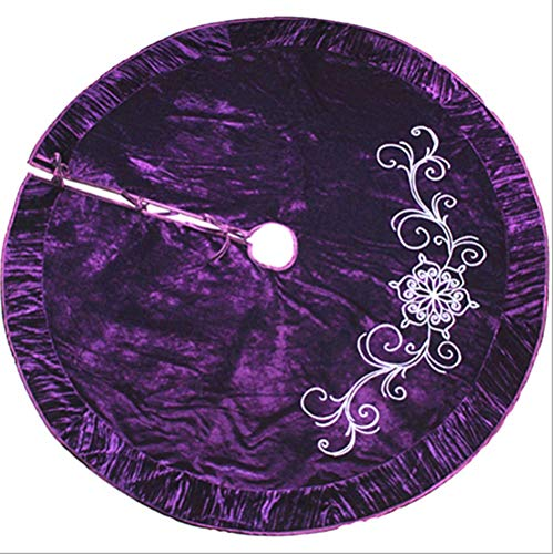 WXYING 50-inch end Embroidered Christmas Tree Skirt - Holiday Decoration Gift (Purple high-Grade Embroidery)
