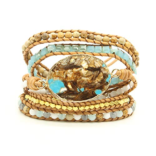 Bonnie Gold Plated Wrap Natural Stones Leather Wrap Around Stone Bracelet 5 Layer Natural Jasper Crystal Beaded Leather Bohemian Tribal Bracelet (Golden Turquoise) ()