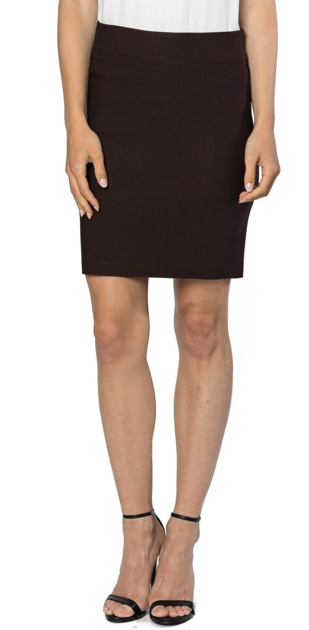 Velucci Womens Stretchable Mini Pencil Skirt - Above The Knee 19'' Length Classic Skirt, Brown-L