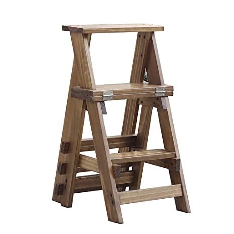 Taburete Silla de madera maciza - Escalera de mano plegable ...