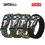 2 PACK Multifunctional Paracord Bracelet, ECVILLA Outdoor Survival Kit Parachute Cord Buckle W Compass Flint Fire Starter Scraper Whistle for Hiking Camping Emergency More