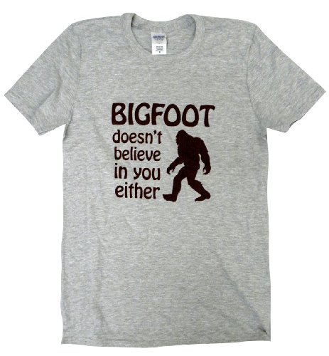 The Bold Banana Men's Bigfoot Doesn't Believe in you T-Shirt - L - Gray