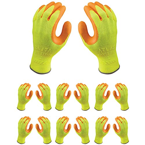 Atlas 317 HI-VIZ Grip Natural Rubber Seamless Knit X-Large Work Gloves, 12-Pairs by Atlas B00TITFOCS