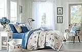 Coastal Ocean Beach Theme Starfish Seashell Super Soft Quilt Coverlet + 2 Shams + 3 Gorgeous Pillows + Home Style Sleep Mask (Full/Queen)