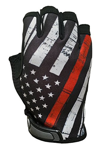Red Line USA Flag HALF Finger Gloves for Gym, Athletic, and Multi-Use - Support Firefighters by Industrious Handwear