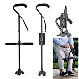 Folding Cane 300 lbs Walking Sticking for Men & Women - Collapsible, Lightweight, Height Adjustable Crutches Portable Walking Cane Mobility Aid