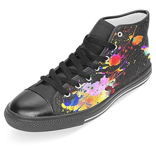 Rentprint Dames Canvas Schoenen Hoge Sneakers Sneakers Kant Sneakers Sneakers Fashion Form Kleurrijke Splatter Zwart
