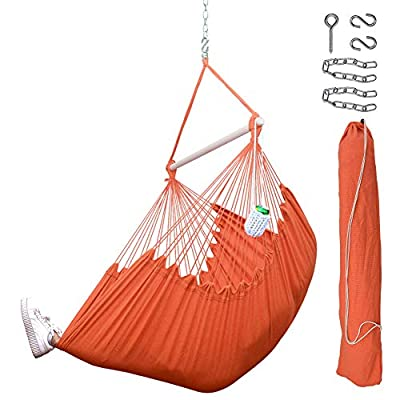 Lazy Daze Hammocks XXL Hanging Rope Hammock Chair Swing Seat with Drink Holder, Carrying Bag and Hanging Hardware, Weight Capacity 300 Lbs, Orange - ★【Extra Cosy Swing】 Hammock swing chair is handcrafted from soft and durable polyester cotton ropes and canvas fabric, protects from outdoor elements, ensures years of enjoyment. ★ 【Sturdy Spreader Bar】39'' long durable hardwood spreader bar makes the hammock swing more stable and stylish as well as maximizing style. Which features weight capacity 300lbs for secure use. ★ 【Stylish & Widely Used】This hammock chair is uniquely designed, will be perfect for relaxing with the hammock chair in your patio, yard, garden, deck. You won't feel tired for no matter how long you sit in it. In this way, you can meditate, take a nap in it comfortably. - patio-furniture, patio, hammocks - 51fRJfWZGDL. SS400  -