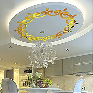 Alrens(TM)Luxury Multiparts= 1 Flower Wreath Acrylic Mirror 3D Wall Stickers Lighting Surrounding Decor Living Room Dining Room Ceiling Decor Home Decoration Removable 24
