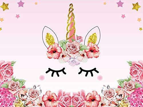(Watercolor Flowers Roses Cute Stars Smiling Face Baby Shower Unicorn Head Sweet Pink Girls Photo Portrait Stduio 7x5FT)