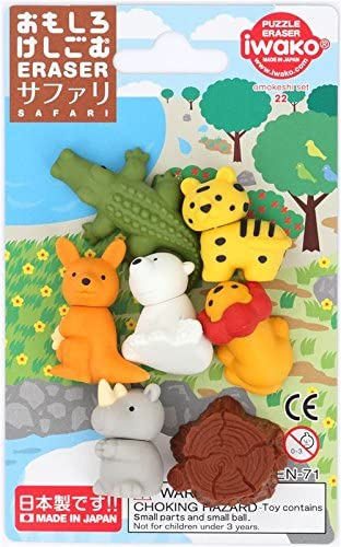 8 gomas de borrar de animales de safari Iwako de Jap/ón
