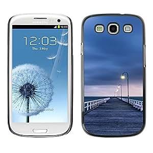 FECELL CITY // Duro Aluminio Pegatina PC Caso decorativo Funda Carcasa de Protección para Samsung Galaxy S3 I9300 // Lonely Sea Grey Pier Sad