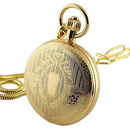 Gold Hunters Case Pocket Watch (ESS Gold Skeleton Copper Alloy Mechanical Mens Pocket Watch With Chain Full Hunter)