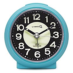 U-needQ Matte Colorful Non Ticking Analog Quartz Alarm Clock with Luminous Clock Dial, 5 Minutes Snooze, Light Night - Small Size, Light Weight, Easy to Use, Perfect for Travel and Kids (Blue)