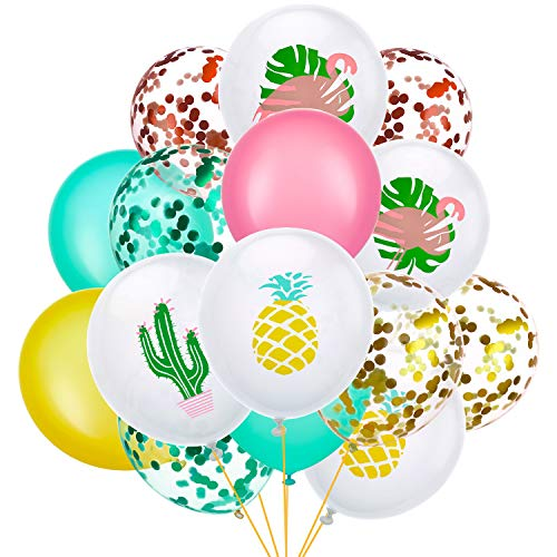 SATINIOR Set of 45 Hawaii Party Decorative Balloon Flamingo Tropical Leaf Pineapple Balloons Colorful Balloon with Round Confetti for Hawaii Luau Party Decorations (Style 2)]()