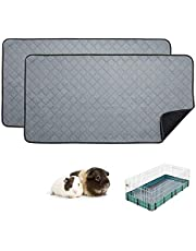 RIOUSSI Guinea Pig Fleece Cage Liners, Highly AbsorbentWashable Guinea Pig Bedding for Midwest and C&C Guinea Pig Cages with Leak-Proof Bottom.for Midwest, Light Gray, 2 Pack.