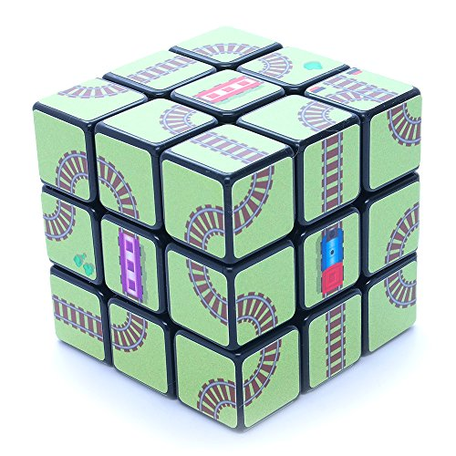 3x3x3 Train Rail Maze SuperCube Black Picture Cube Sticker Mod Twisty Puzzle