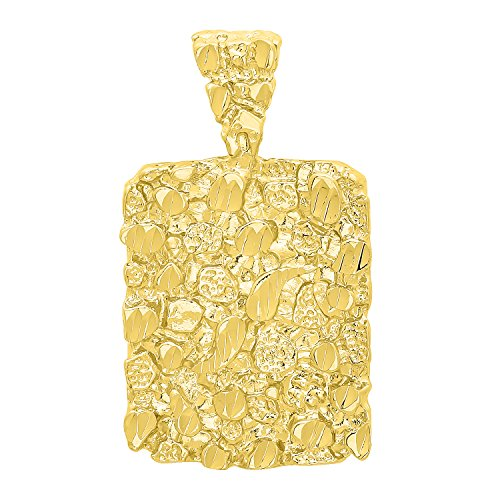 The Bling Factory 14k Gold Plated Chunky Nugget Textured 25mm x 32mm Rectangular Pendant + Microfiber Jewelry Polishing Cloth - Nugget Chain