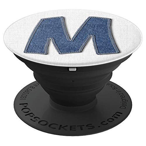 Initial M White Monogram Custom Denim Letter Mobile Holder - PopSockets Grip and Stand for Phones and Tablets