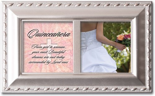 Cottage Garden Quinceañera from Girl to Woman Champagne Rope Trim Jewelry Music Box Plays Light Up My Life