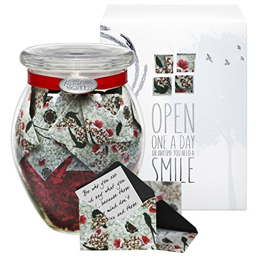 Glass KindNotes INSPIRATIONAL Keepsake Gift Jar of Messages for Him or Her Birthday, Thank you, Anniversary, Just Because - Cherry Blossoms (Thank U For The Gift)