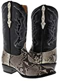 Cowboy Professional - Men's Natural Python Belly Snake Skin Cowboy Boots Round 13.5 2E US