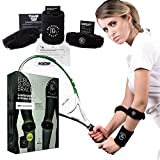 2-Pack Tennis Elbow Brace with Compression Pad for Tennis and Golf - The Best Solution for Tennis Elbow, Golfer's Elbow, Tendonitis, Epicondylitis & Forearm Pain. Black Wrist Sweatband & E-Books
