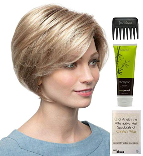 Bundle - 4 items: Nala Wig by Amore, Christy's Wigs Q & A Booklet, BeautiMark Synthetic Shampoo & Wide Tooth Comb - Color: ICE BLOND ()