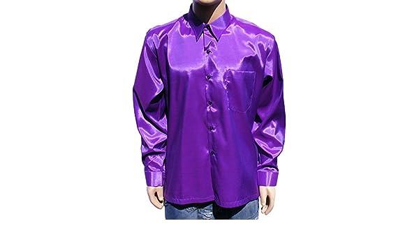 Camisa de manga larga de satén para hombre, color morado, color violeta: Amazon.es: Zapatos y complementos