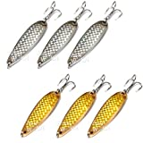 Fish WOW! 6pcs Set 2oz 6inch Fishing Spoon with Treble Hook Gold & Silver