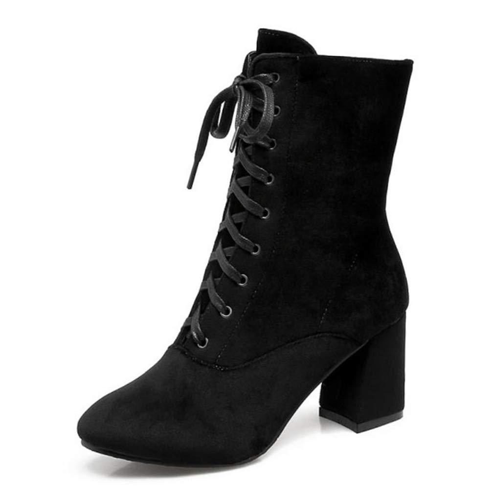 Black Webb Perkin Women Cross Strap Thick Fur High Heel Boots Winter Bootss Footwear Lady Handmade Mid Calf Boots