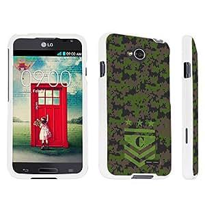DuroCase ? LG Optimus L70 / LG Optimus Exceed 2 Hard Case White - (Army Camo Monogram C)