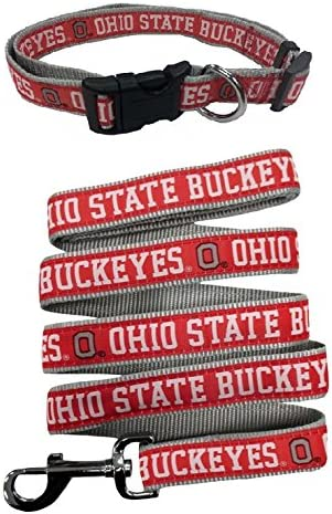 NCAA Official Size Large Pets First Ohio State Buckeyes Nylon Collar and Matching Leash for Pets