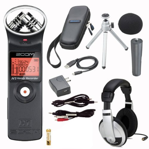 Zoom H1 Digital Recorder Bundle with Zoom APH-1 Accessory Pack, Stereo Mini Cable, Stereo Mini to RCA, and Headphones (Zoom Bundle)