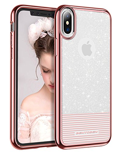 iPhone X Case Glitter , BENTOBEN Protective iPhone 10 Case Hybrid Soft TPU Hard PC Shockproof Phone Case Bling Slim iPhone Cover with Strip for Girls, Women - Rose Gold [Support Wireless Charging]