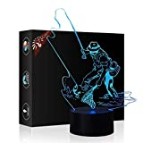 Mother's Day Gift Night Light 3D Beside Table Lamp Fishing Sign Illusion, Gawell 7 Colors Changing Touch Switch Desk Decoration Lamps Birthday Christmas Gift Acrylic Flat & ABS Base & USB Cable