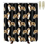 """NiYoung Rough Collie Dog Print, Easy Care Fabric Shower Curtain with 12 Hooks, for Bathroom Showers, Bathtubs, Machine Washable - 60"""" x 72"""" 6"""