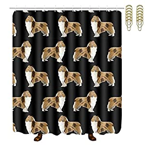 """NiYoung Rough Collie Dog Print, Easy Care Fabric Shower Curtain with 12 Hooks, for Bathroom Showers, Bathtubs, Machine Washable - 60"""" x 72"""" 10"""