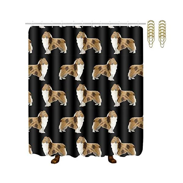 """NiYoung Rough Collie Dog Print, Easy Care Fabric Shower Curtain with 12 Hooks, for Bathroom Showers, Bathtubs, Machine Washable - 60"""" x 72"""" 1"""