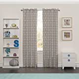 Eclipse 15939042X084GRE Peanut Pals Kids Window Curtain Panel, Grey, 42x84""