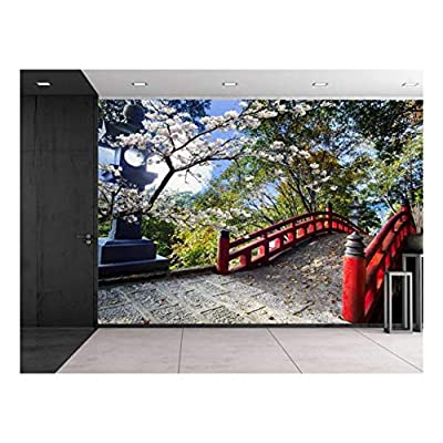 Premium Creation, Stunning Style, Light Post Next to a Red Bridge on a Japanese Garden Wall Mural