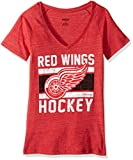 NHL Detroit Red Wings Women's Iced Lines Tri-Blend V-Neck Tee, Medium, Red